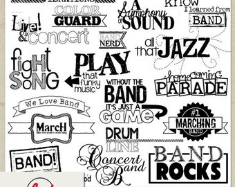 Digital and Printable Overlay Word Set Art - Instant Download - Photography - In the Band
