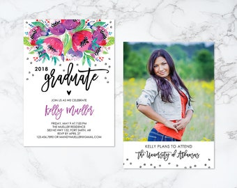 Printable Two Sided Watercolor Floral with Gold Confetti Graduation Photo Card Invitation or Announcement