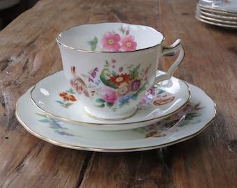 Coalport 'Junetime' vintage china tea cup trio