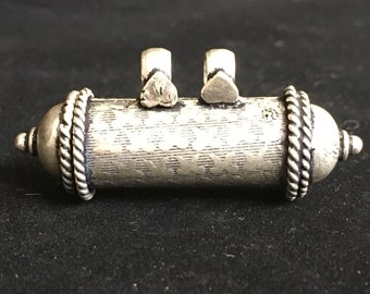 Large Antique Finish Sterling Silver Kavach with Hearts SSK007