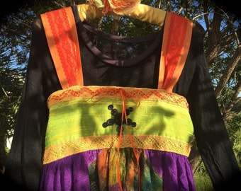 Groovy Boho Tie Dye Witch Dress OOAK Vintage Details Purple Licious Dreamy Chartreuse Beauty XL