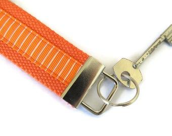 Orange Cotton Webbing Key Fob - Wristlet Key Ring  - Webbing Key Carrier - Key Carrier