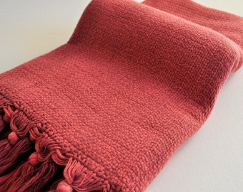 Turkish Towel cotton Peshtemal towel soft Stone washed thick towel in burgundy