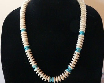 26 Inch Chunky White Magnesite Turquoise and Blue Turquoise Necklace with Earrings