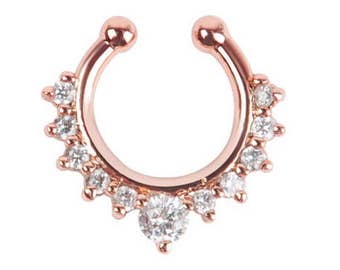 1PC rose gold plated  Crystal Fake Nose Ring - Faux Septum  Fake Septum Ring  Septum Ring /ZM