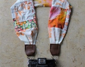 Pink Patchwork Scarf Camera Strap - with Lens Cap Pocket