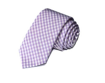 Lilac Gingham Necktie~Anniversary Gift~Wedding Tie~Mens Gift~Boys Necktie~Mens Necktie~Wedding~HoBo Ties~Mens Tie~Purple Necktie