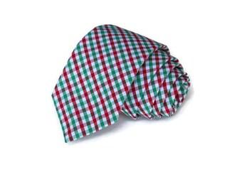 Red and Green Tattersall Necktie~Cotton Necktie~Anniversary Gift~Wedding Tie~Plaid Necktie~Mens Gift~Skinny Tie~Winter Wedding~Christmas Tie