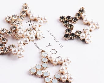 6pcs Diy jewelry accessories, Restore ancient ways, set with diamonds, five-pointed star, metal accessories, earrings accessories pendant