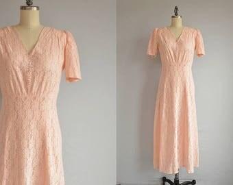 Vintage 1940s Lace Dress / 1940s Pale Pink Pastel Lace Party Midi Dress with Glass Buttons