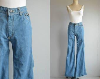 Vintage 70s Jeans / 1970s High Waist Wide Flare Leg Bell Bottoms Denim