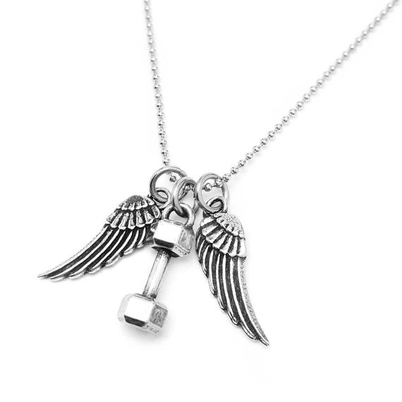 Lifting Gives You Wings Mini Dumbbell Necklace - Fitness Jewelry - Gym Necklace - Workout Necklace - Jewelry for Motivation - Gym Gifts