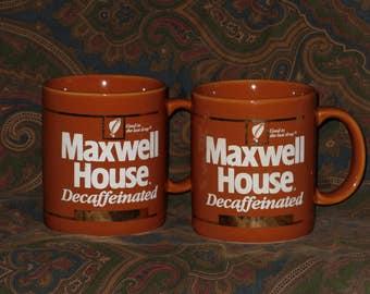 Maxwell House Coffee Mug Decaf Cup Set 2 Decaffeinated Advertising Mugs Pair Vintage