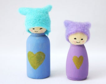 Gold Heart Miniature Cornish Pixie Elf Set