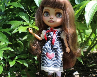 Blythe Doll Dress Blue Vintage Repurposed