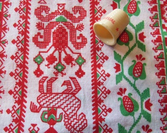 scandinavian christmas print cotton fabric piece