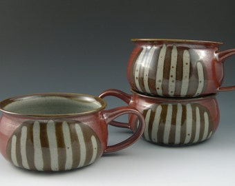 Soup Bowl Handmade Pottery in Rust Red with Brown and Grey Stripe Pattern