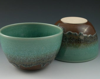 Cereal Bowl Soup Bowl in Aqua and Brown Handmade Pottery