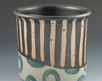 Utensil Holder Handmade Ceramic in Black and Orange Stripe with Teal Circles Pattern
