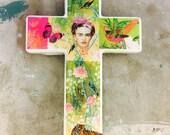 Frida Kahlo Pink Green Wall Cross 2