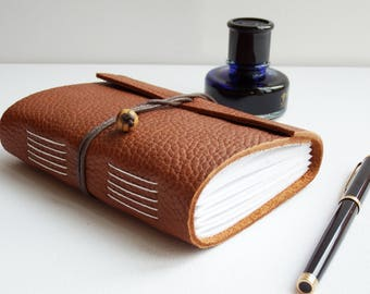 Tan Leather Journal, Wrap Journal, Leather Notebook, Hand Bound Journal, Blank Book, Leather Sketchbook, Mindfulness Journal, Bucket List