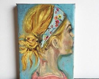 XOXO .. original oil painting 5x7 tiny small art artwork