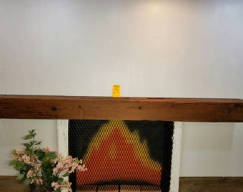 "Reclaimed Barnwood Beam Fireplace Mantle 96 3/8"" Long Antique Barn Wood Shelf"