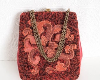 Vintage Carpet Bag Shades of Red and Pink Flourish Design Leather Sides Chain Strap Roomy 1950s