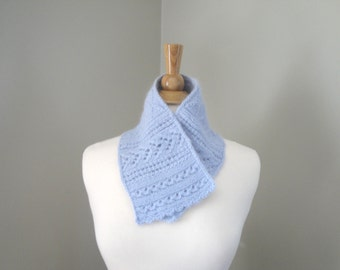 Pale Blue Neck Warmer Scarf, Hand Knit Angora Wool, Cowl Style Scarf, Lacy Stitch Design, Women's Fashion Knit