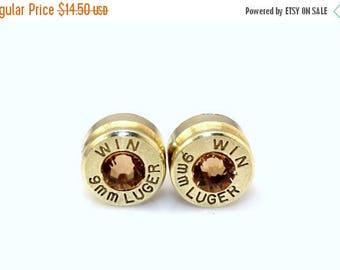 30% OFF SALE Bullet Earrings. November Birthstone . Topaz  . 9mm Luger.