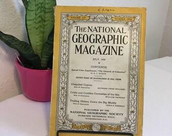 Vintage Magazine, July 1928, National Geographic, free shipping US & Canada