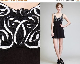 50% OFF ENTIRE STORE Vintage 90s Mini Black and White Ribbon Cut out Bustier Dress // Tank Dress // Floral Bra Top