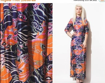 50% OFF ENTIRE STORE VIntage 60s 70s Maxi Print Psychedelic Dress // Turtle Neck // Long Sleeves // Boho Hippie