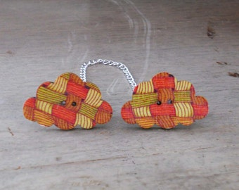 Sweater Pins, Cloud Sweater Pins, Red and Orange Sweater Pins, Autumn Sweater Pins, Cloud Collar Pins, One of a Kind