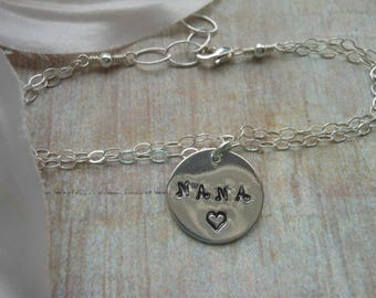 NANA Bracelet, Gift for Grandmother, Sterling Silver, Charm Bracelet, Mothers Day Gift,Jewelry Gift,Hand Stamped, Gift Set