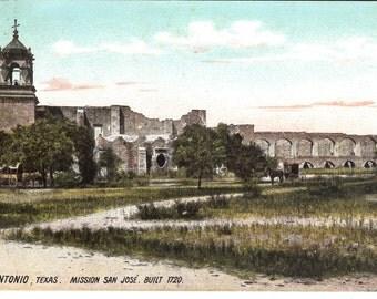 Vintage Postcard...Texas, San Antonio, Mission San Jose, Built 1720...Used, 1909...no. 3603