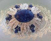 Sarah Coventry Rhinestone Brooch Blue Cabachon Star Burst Brooch Vintage 1960s