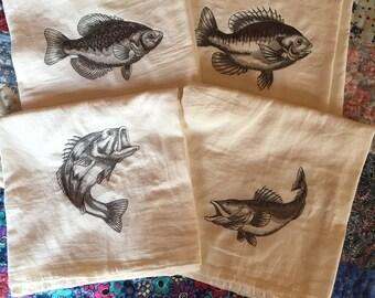 Set of Four Fish Sketch Flour Sack Dish Towels
