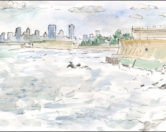 Lynn Mass ocean, art deco buildings, 8.5x11 giclee art print of painting of Providence, Landscape & Architecture
