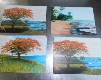 Gift set of Four Art Cards Of Rincon Puerto Rico Travel Art