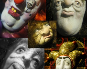 YOUR CHOICE - Flexible Food Grade Silicone Press Push Molds of Doll Face Cabs - Jester, Clown, Male, Female Characters