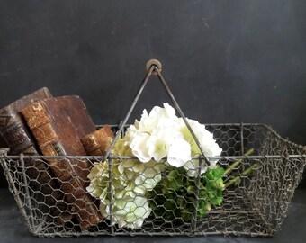 XL French Antique Wire Oyster Basket .Cottage. Wedding favor basket
