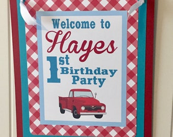 RED TRUCK Theme Party Happy Birthday Party or Baby Shower Door or Welcome Sign Gray - Party Packs Available - Red Blue