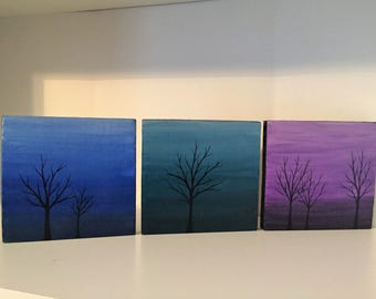 Color Wash Trees Recycled Wood Set of Three Plaques Green Blue Purple Re-purposed Fence Board Hand Painted Wall Art Home Decor