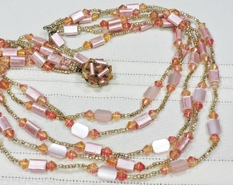 Vintage Pink Necklace, 5 strands with decorative clasp