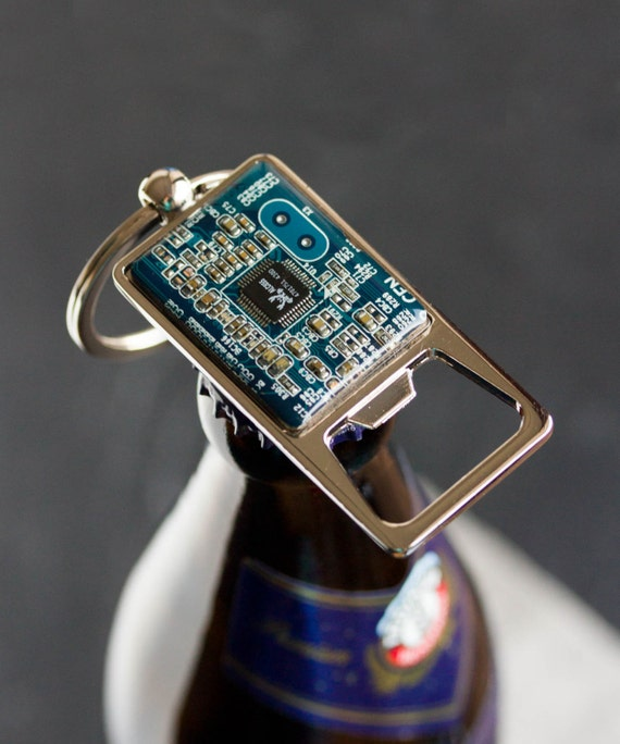 bottle opener keychain with a circuit board groomsmen gift. Black Bedroom Furniture Sets. Home Design Ideas