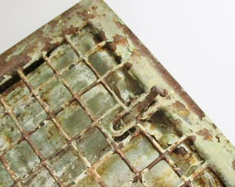 Vintage Metal Grate Salvaged Duct Cover Architectural Green Ivory Crusty Chippy Altered Art Assemblage