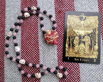 Dark Hearted Love Pagan Prayer Beads with Heart Bottle, Rose Quartz, Black Lava Stone, & Skulls / 72 Mala / Devotional Necklace