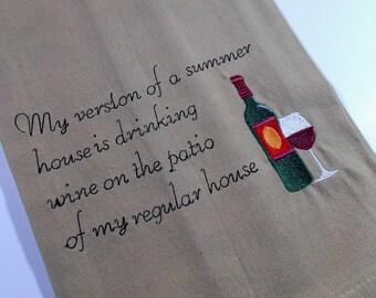 Wine Gift – tea towel - Mom Gift - Wine Lover Gift - Funny Wine Towel - Embroidered Wine Towel - 10 dollar gift - Funny Kitchen Towel - mom