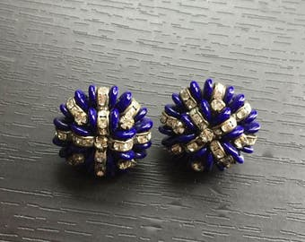 Vintage Vogue Blue Beaded and Rondelle Earrings
